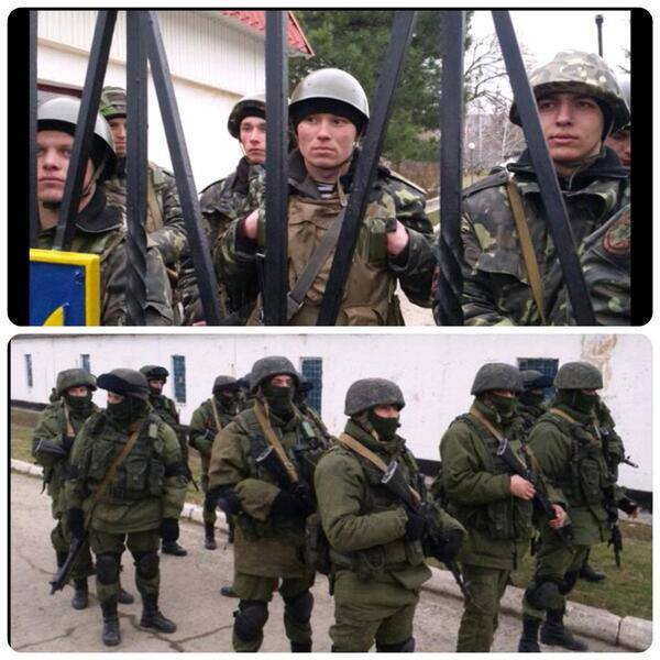 Ukrainian soldiers (top) defend their military unit being confronted by Russian armed soldiers (bottom)